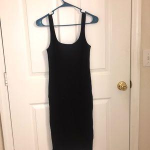 Black casual midi dress